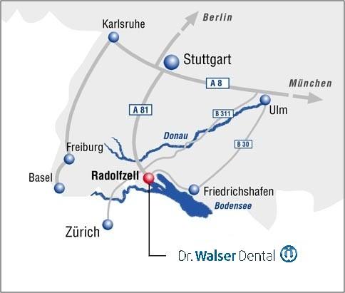 Hier sehen Sie auf der Deutschlandkarte den Sitz der Dr. Walser Dental