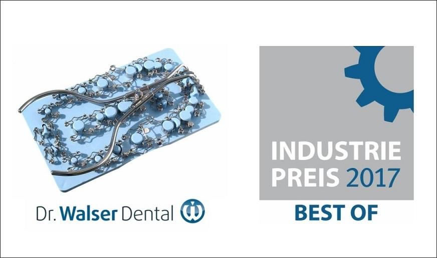 "Representatives and journalists awarded the Dr. Walser Dental for their tooth matrices entitled ""Best of 2017"" industry award"