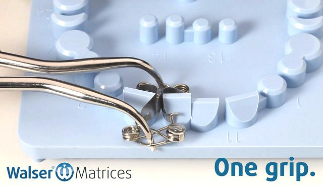 The tooth matrix xf-shape is tensioned and removed from the tray